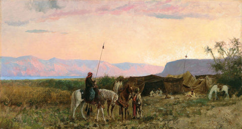 Sunset At Bedaween Encampment Near The Dead Sea - Edwin Lord Weeks - Vintage Orientalist  Painting by Edwin Lord Weeks