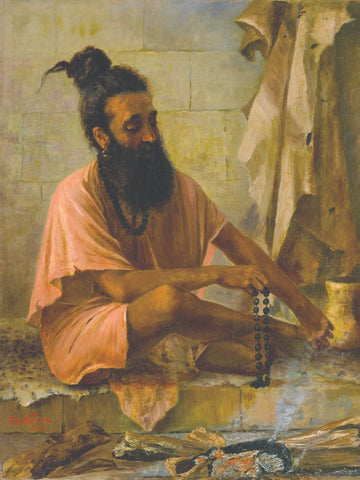 Swami Vishwamitra In Meditation  - Raja Ravi Varma - 1897 Vintage Indian Art Painting by Raja Ravi Varma