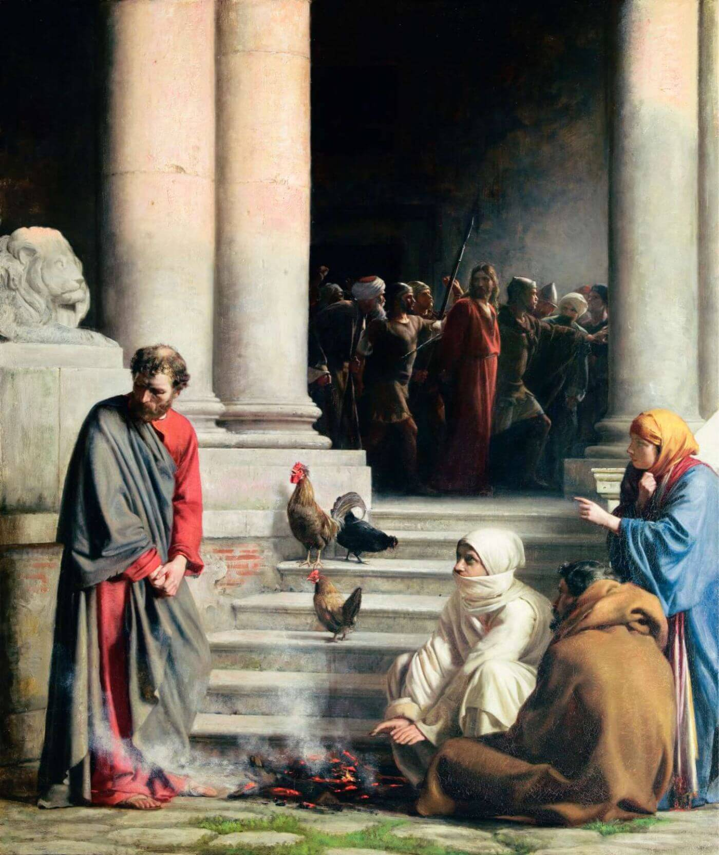 The Denial of Peter – Carl Heinrich Bloch 1880 - Jesus Christ - Christian Art Painting - Posters