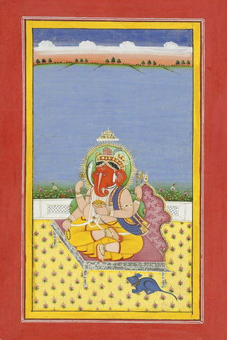 The Elephant Headed God Ganesh - Rajasthan School c1861- Indian Vintage Miniature Painting