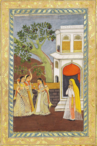 Three Young Ladies Enjoying A Drink - Mughal Miniature Indian Painting Circa 1750