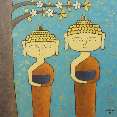 Contemporary Art - Two Young Monks by Aditi Musunur