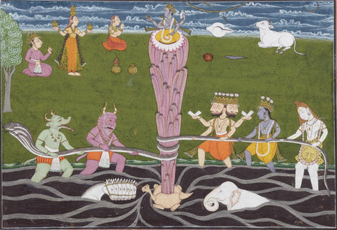 Indian Art - Samudra Manthan - Churning of the Ocean by Mahesh by Mahesh