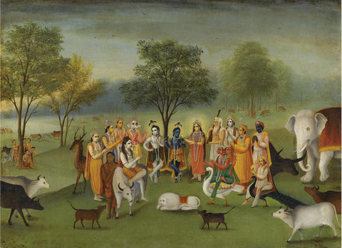 Krishna and Balaram with other Gods