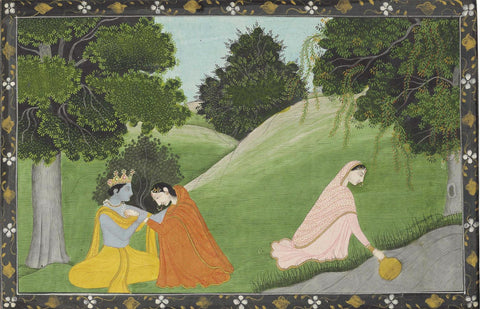 Krishna and Radha with a Friend by the River