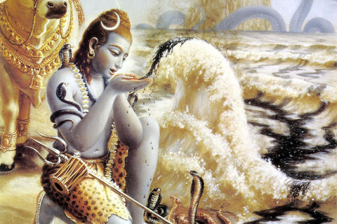 Lord Shiva Drinking Halahala Poison From Samudra Manthan