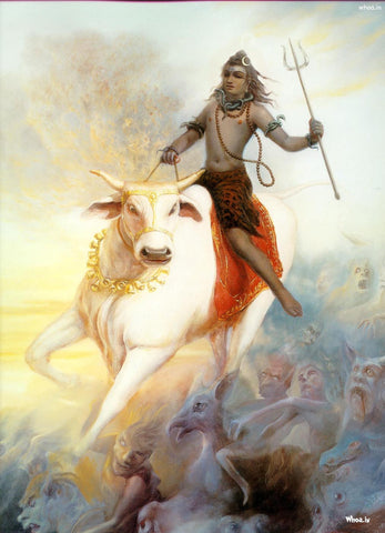 Lord Shiva Riding Nandi by Mahesh