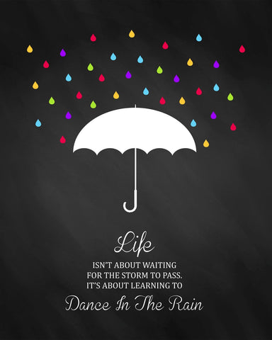 Motivational Poster - Dance In The Rain-  Inspirational Quote by Sherly David