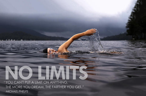 Motivational Poster - NO LIMITS - MIchael Phelps - Inspirational Quote by Sherly David