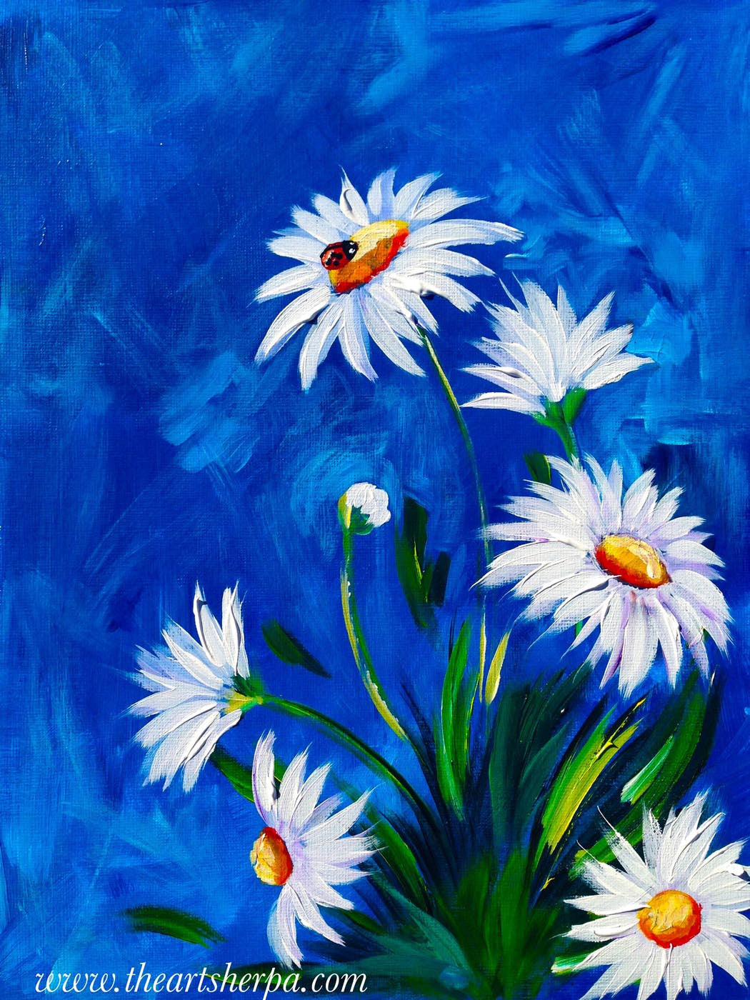 oil painting white flowers with blue background posters by sam