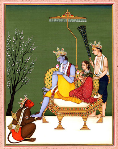 Sita Ram And Lakshman with Hanuman - Vintage Painting