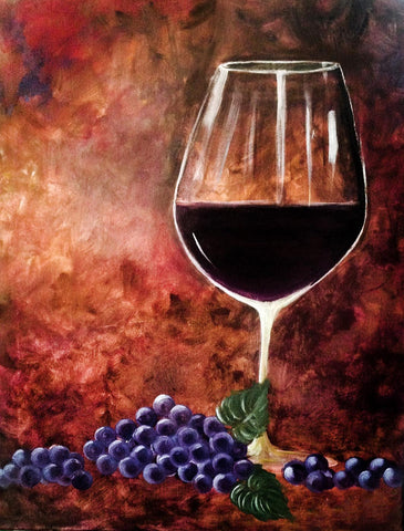 Bar Art - A Glass Of Wine And Grapes by Deepak Tomar