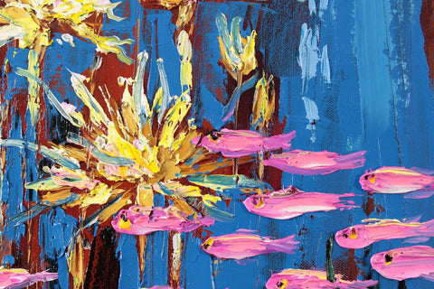 Contemporary Art - Pink Fish In Pond