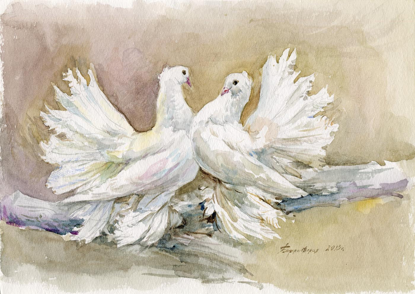 contemporary art turtle doves delicate watercolor painting