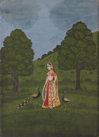 Indian Art - Rajput Painting - Lady With Peacocks