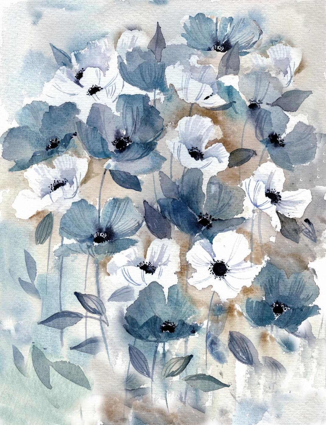 Tallenge Floral Art Collection - Contemporary Water Color - Daisy Field -  Canvas Prints
