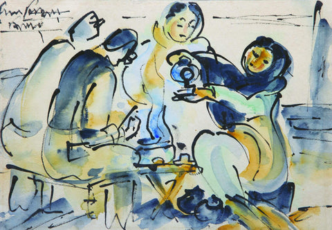 Tea Shop - Ramkinkar Baij - Bengal School Indian Painting