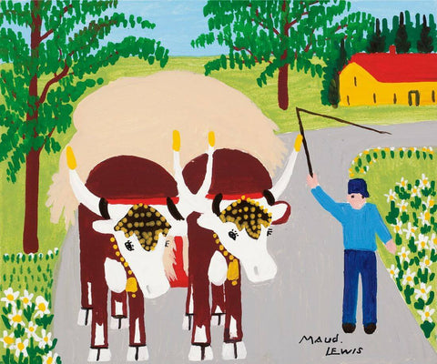 Team Of Oxen - Maud Lewis - Posters by Maud Lewis