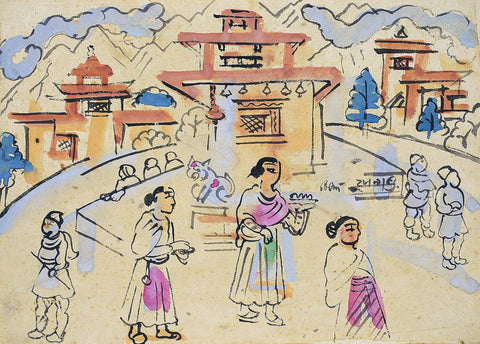 Temple - Benode Behari Mukherjee - Bengal School Indian Painting