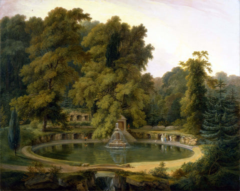 Temple, Fountain and Cave in Sezincote Park - Thomas Daniell  - Vintage Orientalist Paintings of India by Thomas Daniell