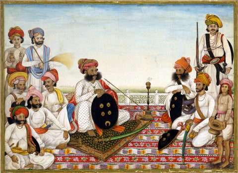 Indian Miniature Paintings - Thakur Dawlat Singh Among Courtiers