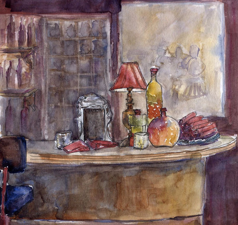 The Still Life Bar In Watercolors by Deepak Tomar