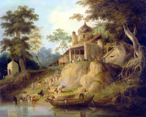 The Banks of the Ganges - William Daniell - Vintage Orientalist Painitng of India c1825 by William Daniell