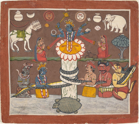 The Churning of the Ocean of Milk -  CA 1780-90 - Indian Miniature Paintings by Tallenge Store