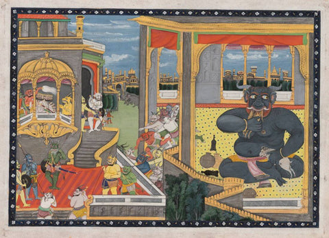 The Giant Kumbhakarna is Awakened – A Leaf from the Ramayana - Pahari Painting, Mid-19th century