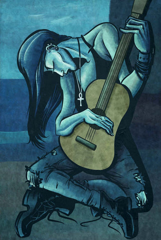 The Punk Guitarist in Picasso Style - Posters