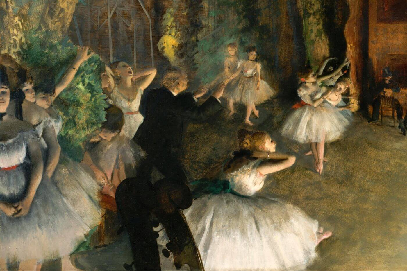 The Rehearsal of the Ballet Onstage 1874 -  Edgar Degas - Posters