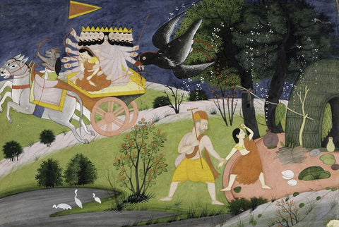 The abduction by Ravana and Jatayu trying to save Sita - Chamba style 18th century - Vintage Indian Art Ramayana Painting