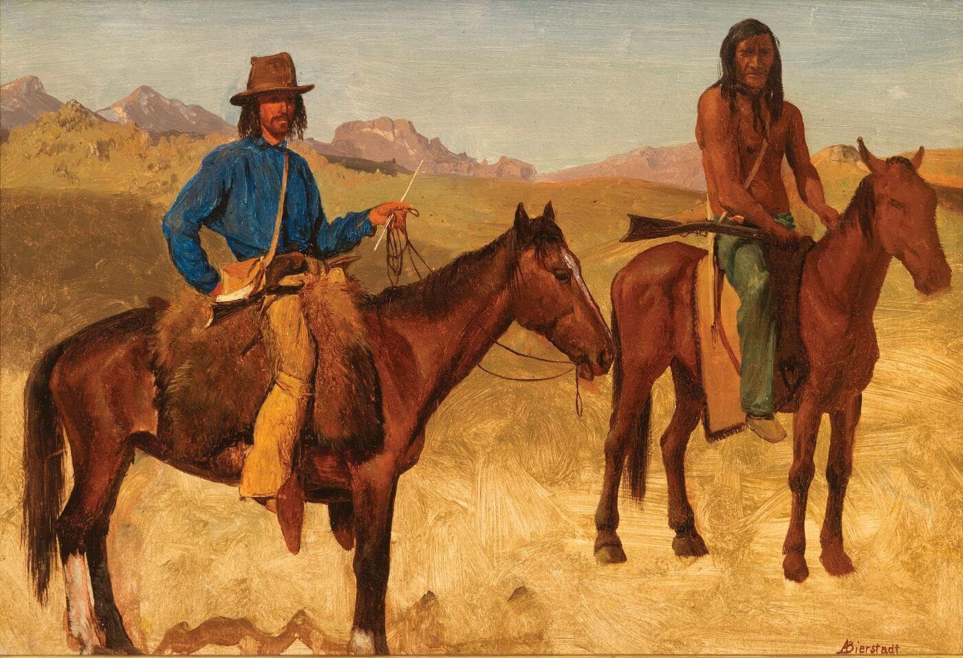 Trapper and Indian Guide - Albert Bierstadt - Western American Indian Art Painting
