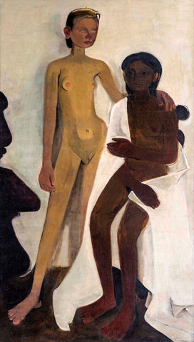Two Girls - Amrita Sher-Gil - Famous Indian Art Nude Painting by Amrita Sher-Gil