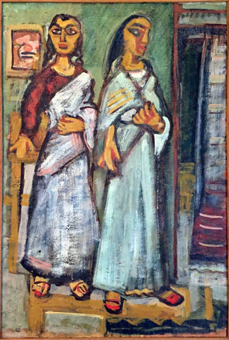 Two Women - Benode Behari Mukherjee - Bengal School Indian Painting