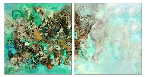 Contemporary Abstract Art - Coral Island - 2 Panels - (46 X 46)