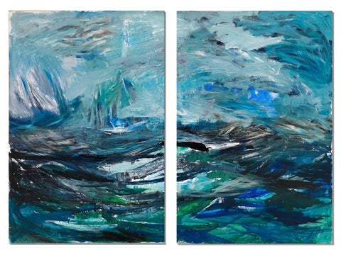 Contemporary Abstract Art - Seascape - 2 Panels - (28 X 42)