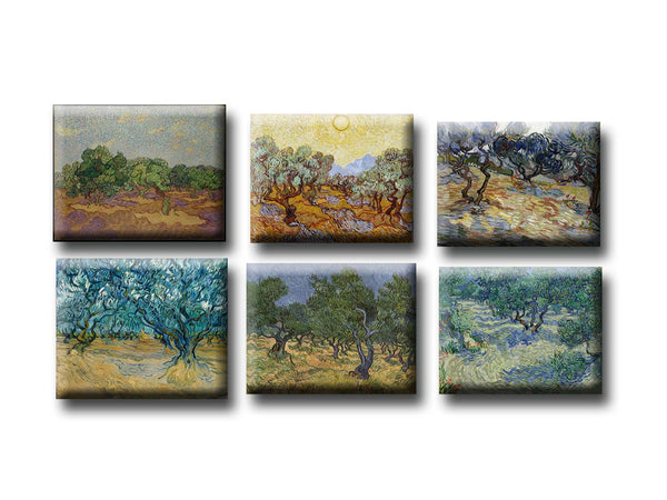 Fridge Magnets of Vincent van Gogh - Set of 6 Olive Trees Fridge Magnets by Vincent van Gogh