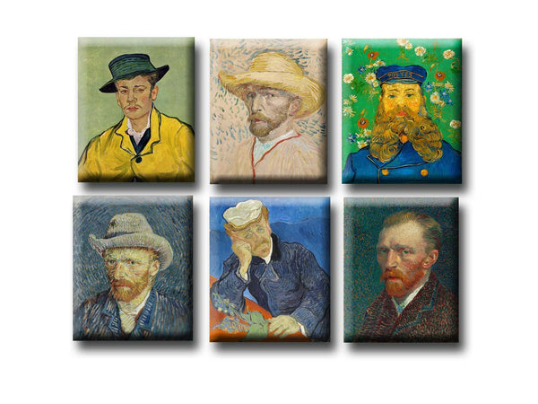 Fridge Magnets of Vincent van Gogh - Set of 6 Portraits Fridge Magnets by Vincent van Gogh