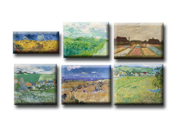 Fridge Magnets of Vincent van Gogh - Set of 6 Wheatfields Fridge Magnets by Vincent van Gogh