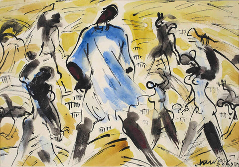 Harvesters, 1951 - Ramkinkar Baij - Bengal School Indian Painting