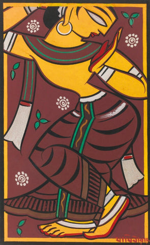 Untitled (Dancing Gopi) by Jamini Roy
