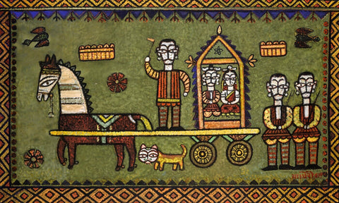 Untitled (King And Queen In Carriage) by Jamini Roy