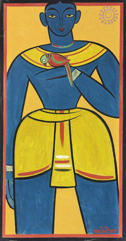 Untitled (Man With Parrot) by Jamini Roy