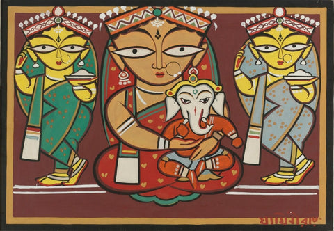 Untitled (Parvati And Ganesh With Attendants) - Canvas Prints