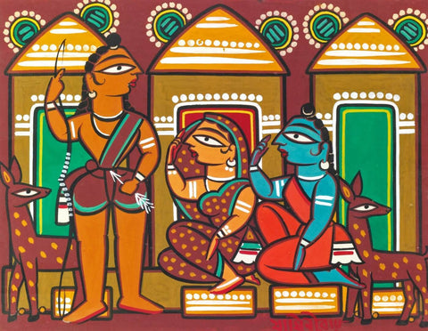 Untitled (Ram, Sita, Lakshman) by Jamini Roy