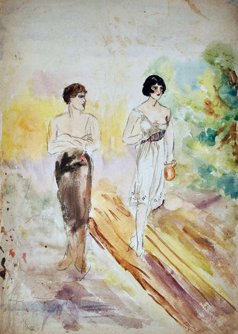 Watercolour On Paper Man And Woman - Amrita Sher-Gil - Indian Art Painting by Amrita Sher-Gil
