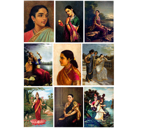 Set of 10 Best of Raja Ravi Varma II Paintings - Poster Paper (12 x 17 inches) each