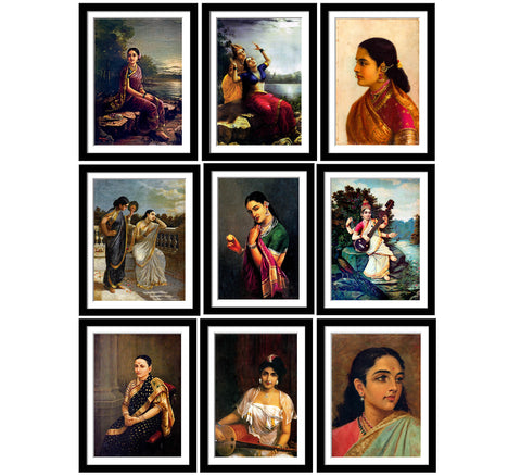 Set of 10 Best of Raja Ravi Varma II Paintings - Framed Poster Paper (12 x 17 inches) each