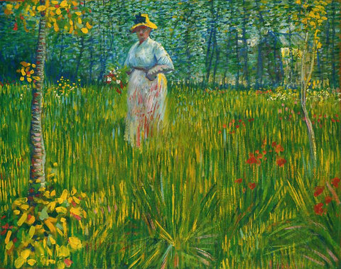 A Woman Walking In A Garden